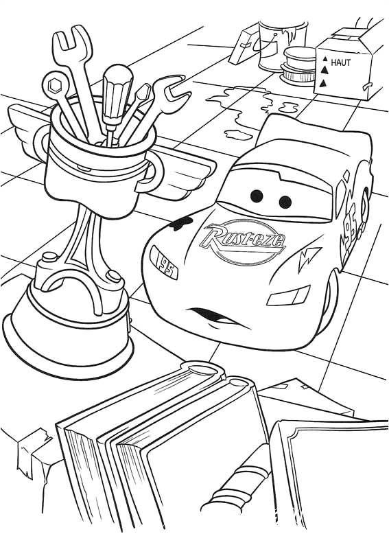 Продолжение истории Молнии Маккуина в подборке раскрасок, специально для вас. Скорее хватай карандаши и раскрась всё в любимые цвета.