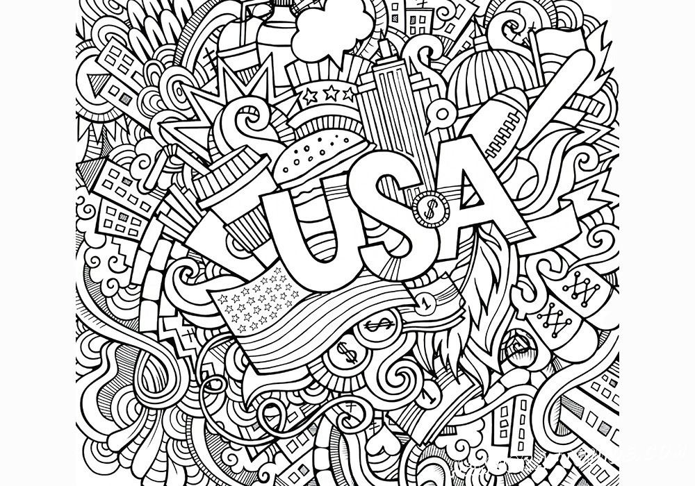 раскраски антистресс USA