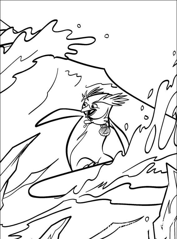 """Пингвины из мультфильма """"Лови волну!"""", катающие на досках по волнам, в подборке раскрасок, специально для вас."""