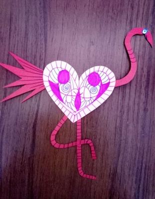 Фламинго из цветной бумаги для наших любимых девочек.