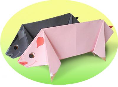 Забавные хрюшки в стиле оригами, специально для вас! Скачай, распечатай и следуй пошаговой инструкции.