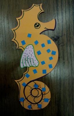 поделка из бумаги морской конек