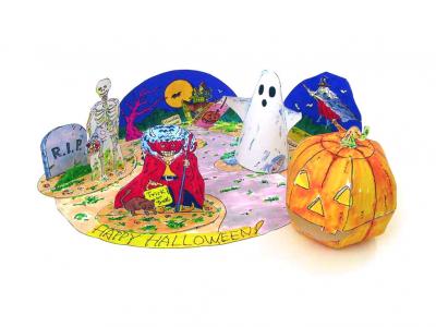 """Бумажная постановка """"Хэллоуин"""" украсит и сделает особенной вашу комнату в день всех святых. Пошаговая инструкция уже ждёт вас во вложенном файле."""