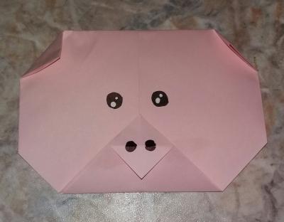 Мордочка поросенка из бумаги, с помощью техники оригами подарит хорошее настроение на целый день