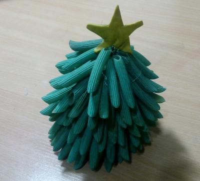 новогодняя ёлка из макарон своими руками для детей