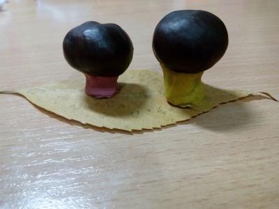 грибы из каштанов поделка