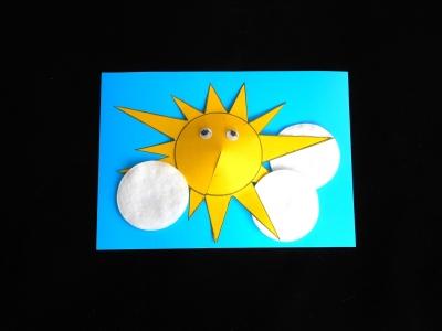 Солнышко – главный герой нашей красивой объёмной аппликации из цветного картона.