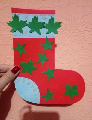 рождественский носок из бумаги своими руками
