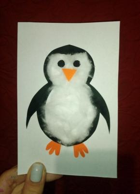 аппликация пингвина из ваты и цветной бумаги