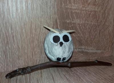 поделка из ореха белая сова