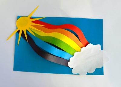 Прошел дождик и у нас появилась вот такая красивая радуга из цветной бумаги. Та шутим мы, и приглашаем принять участие в выполнении это красивой аппликации.