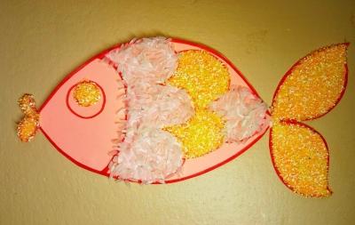 аппликация рыбы из пшеничной и рисовой крупы для детей
