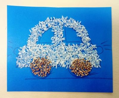 поделка для мальчиков автомобиль из риса