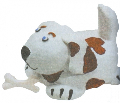 For body and head dog roll balls, to give them a slightly an oblong shape. Connect with each other. Sculpt sausage tail.