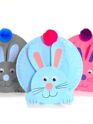 Поделки объёмные из тарелок для детей пасхальный кролик