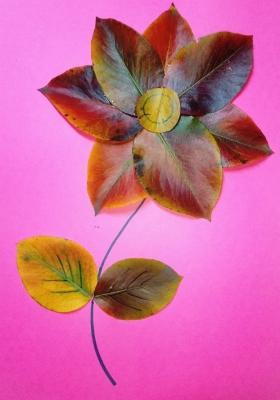 Красивейший цветочек из осенних листьев мы подарите своим родным и близким.