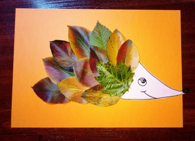 Давайте представим, что у ёжика вместо иголочек на спинке, осенние листья!