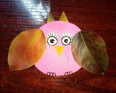 Самая милая сова из осенних листьев