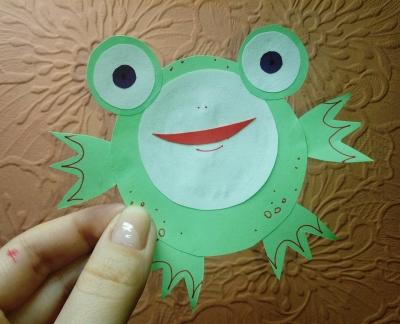поделка жабка из цветной бумаги
