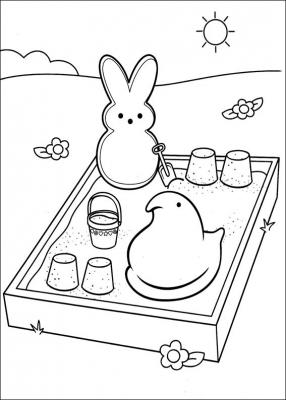 Зефирные конфетки, распространенные в Соединенных Штатах и Канаде. Они имеют различные формы: цыплята, кролики, зайчики и другие животные. Давайте придадим красок этим замечательным детским разукрашкам!