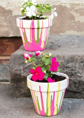 Поделки для дачи и сада, красивый горшок для цветов своими руками с детьми