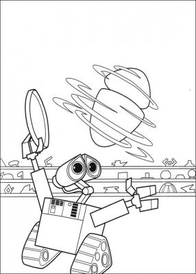 История робота, который долгие годы трудился над очищения Земли от всякого мусора, но в один момент всё резко меняется и ВАЛЛ-И отправляется к звёздам, чтоб напомнить человечеству о родном доме. Раскраски с роботами из этого замечательного мультфильма, специально для вас.